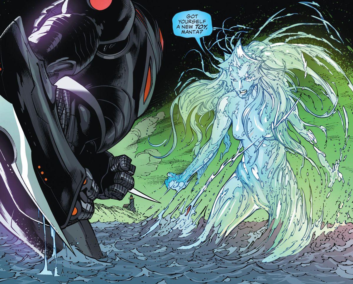 Mera uses her aquakinesis to create a massive liquid avatar of herself to face off against Black Manta's massive mecha, in Aquaman #55, DC Comics (2019).