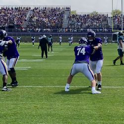 Mike Remmers getting some drill work today.