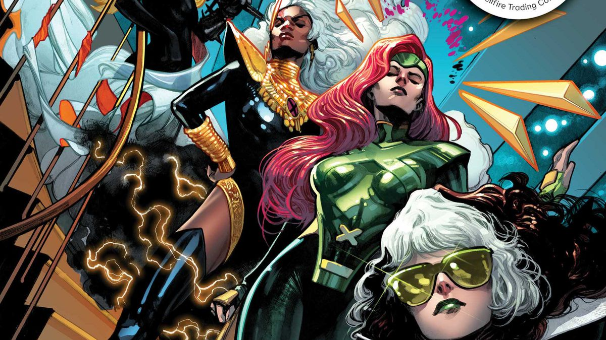 Rogue, Jean Grey, Storm, and Magik arrive at the Hellfire Gala on the cover of Planet-Size X-Men #1, Marvel Comics (2021).