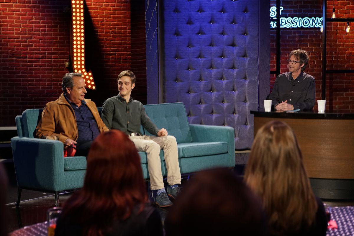 """Ryan Goldsher (center) appears with Jon Lovitz (left) and Dana Carvey on """"First Impressions.""""   USA Network"""