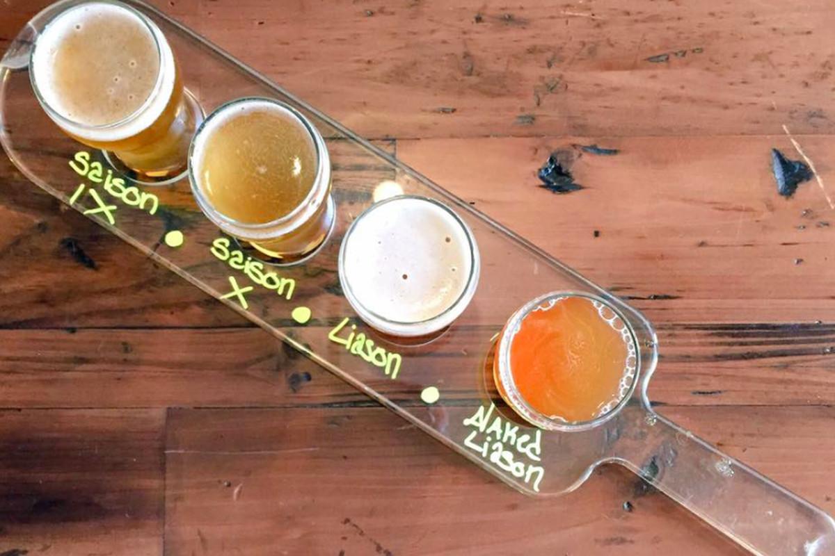 A flight of beer from St. Benjamin Brewing Company in Kensington, Philadelphis