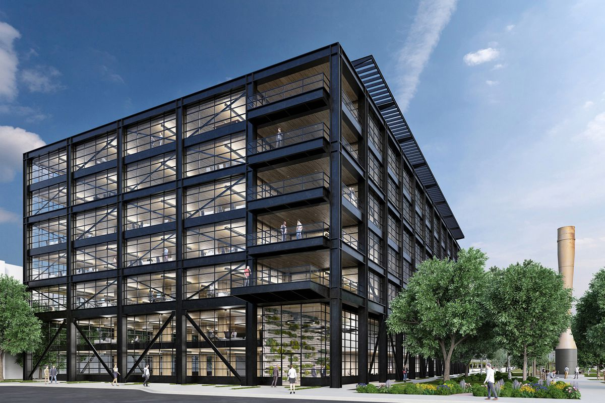 A rendering of the seven-story building, with black steel facade and large glass windows.