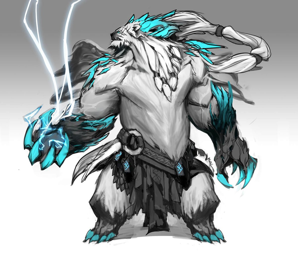 Volibear's new rework concept art, which features him with a ponytail and some neat ice armor