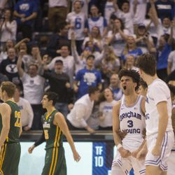 Brigham Young Cougars guard Elijah Bryant (3) reacts near the end of BYU's 75-73 overtime win against the San Francisco Dons at the Marriott Center in Provo on Saturday, Feb. 10, 2018.