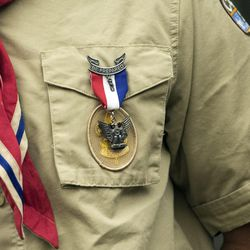 The Eagle Scout medallion hangs on the uniform of Scout Aye Kyi during a Court of Honor ceremony at Camp Tracy Lodge in Salt Lake City on Thursday, Sept. 28, 2016. Only four percent of all Scouts meet the requirements to achieve the Eagle Scout rank.