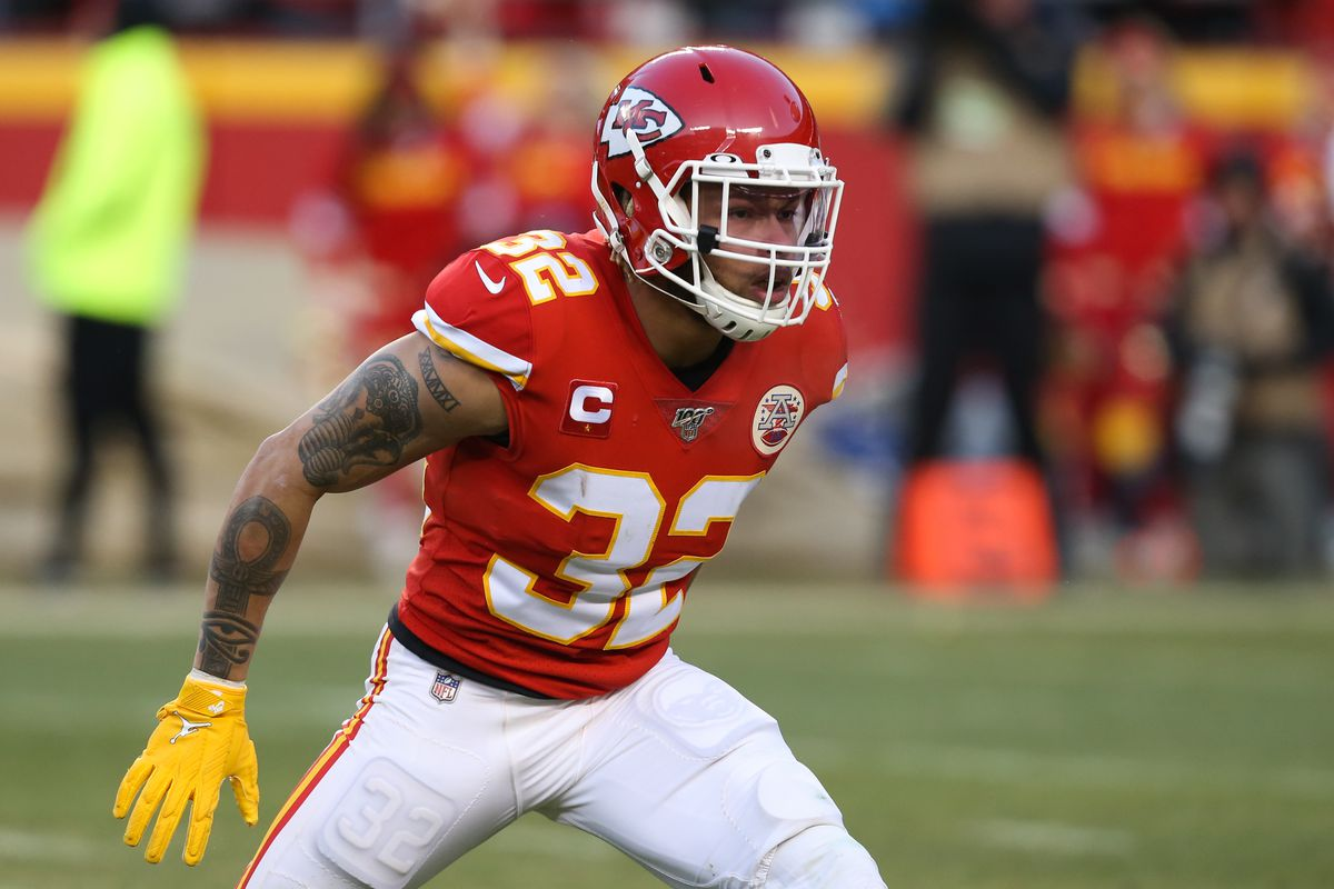 Kansas City Chiefs strong safety Tyrann Mathieu in the fourth quarter of the AFC Championship game between the Tennessee Titans and Kansas City Chiefs on January 19, 2020 at Arrowhead Stadium in Kansas City, MO.