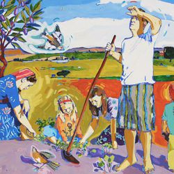 """Linda Etherington's oil on canvas """"By the Sweat of His Brow"""" is featured in the BYU Museum of Art's """"The Interpretation Thereof: Contemporary LDS Art and Scripture"""" exhibition."""