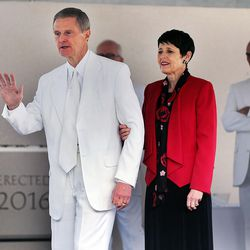 Elder David A. Bednar of the Quorum of the Twelve Apostles and Sister Susan K. Bednar walk from the stand following the cornerstone ceremony of the Star Valley Wyoming Temple Dedication in Afton, Wyoming, on Sunday, Oct. 30, 2016.