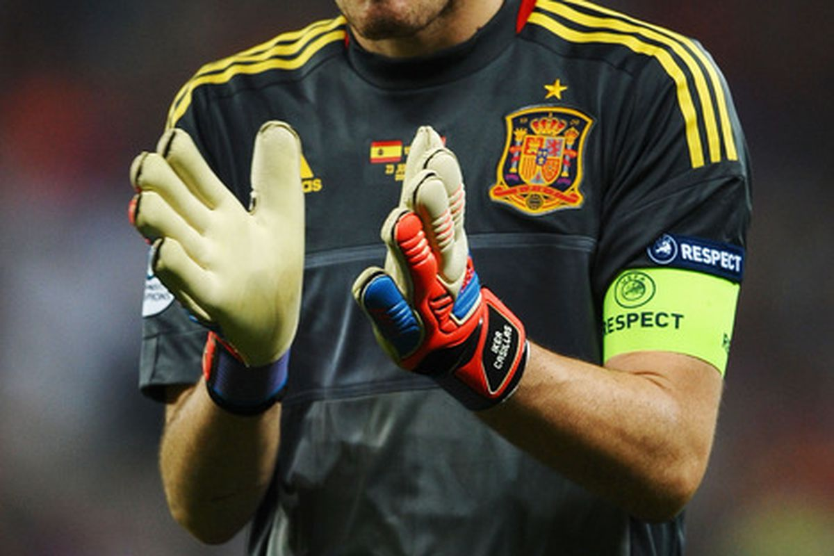 DONETSK, UKRAINE - JUNE 23: Iker Casillas of Spain after victory during the UEFA EURO 2012 quarter final match between Spain and France at Donbass Arena on June 23, 2012 in Donetsk, Ukraine.  (Photo by Laurence Griffiths/Getty Images)