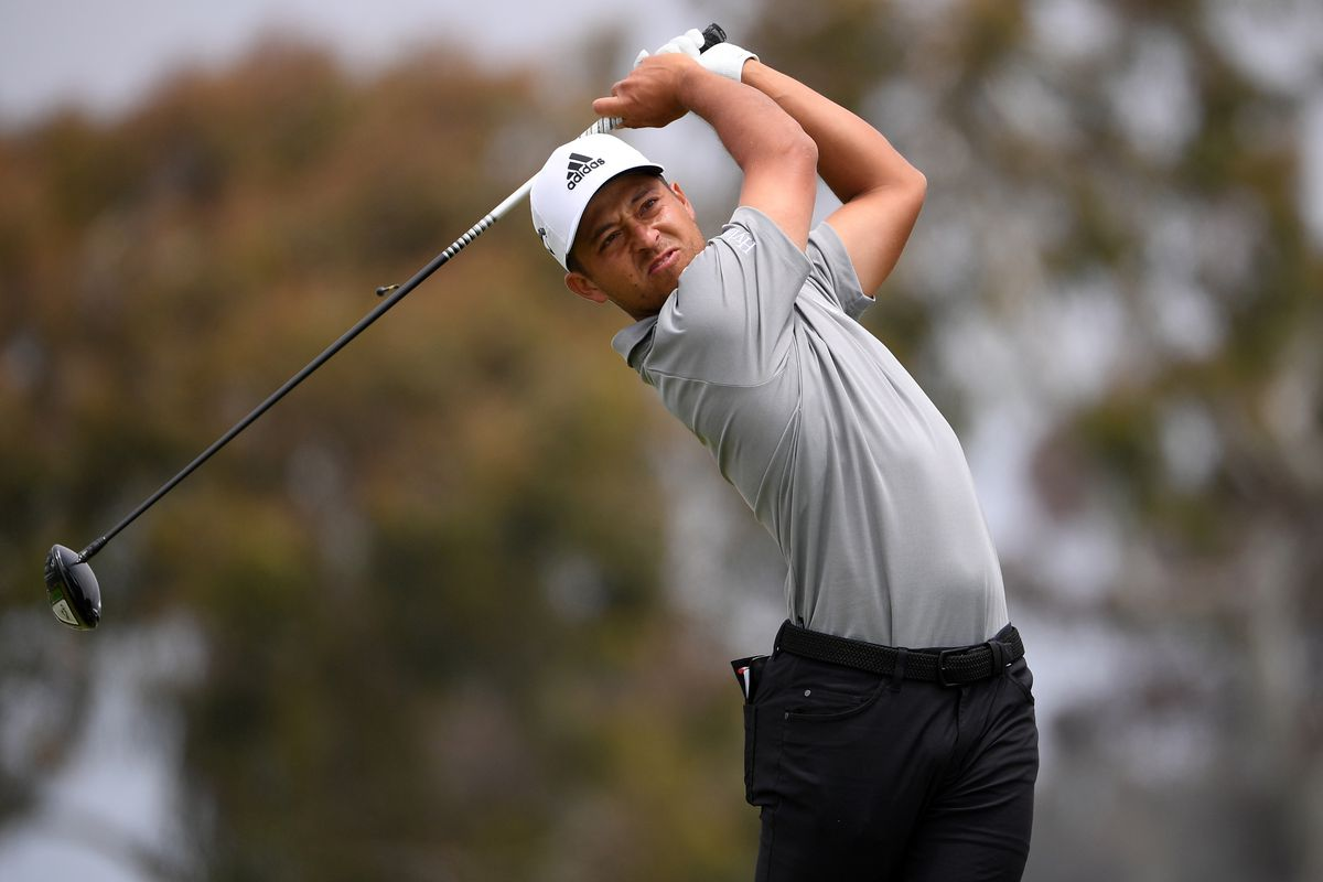 Xander Schauffele plays his shot from the second tee during the final round of the U.S. Open golf tournament at Torrey Pines Golf Course. Mandatory Credit: Orlando Ramirez