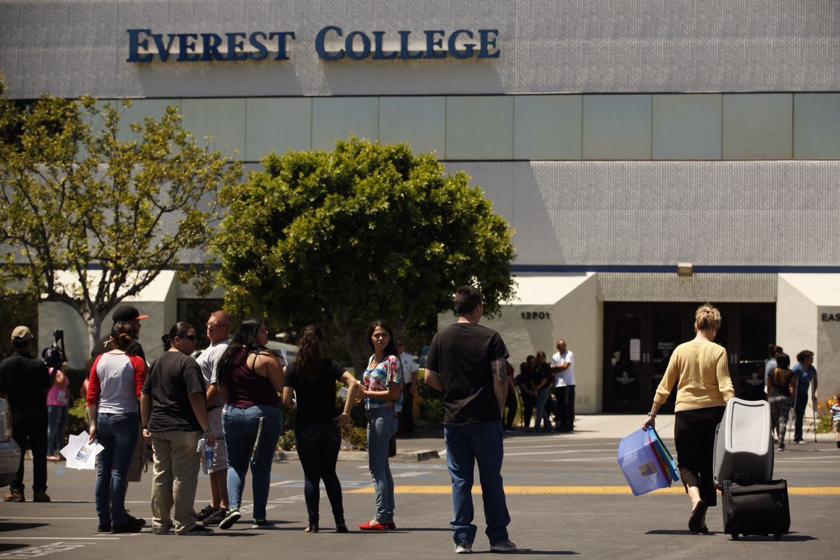 Students outside Everest College in City of Industry, California, a Corinthian campus that closed suddenly this spring.