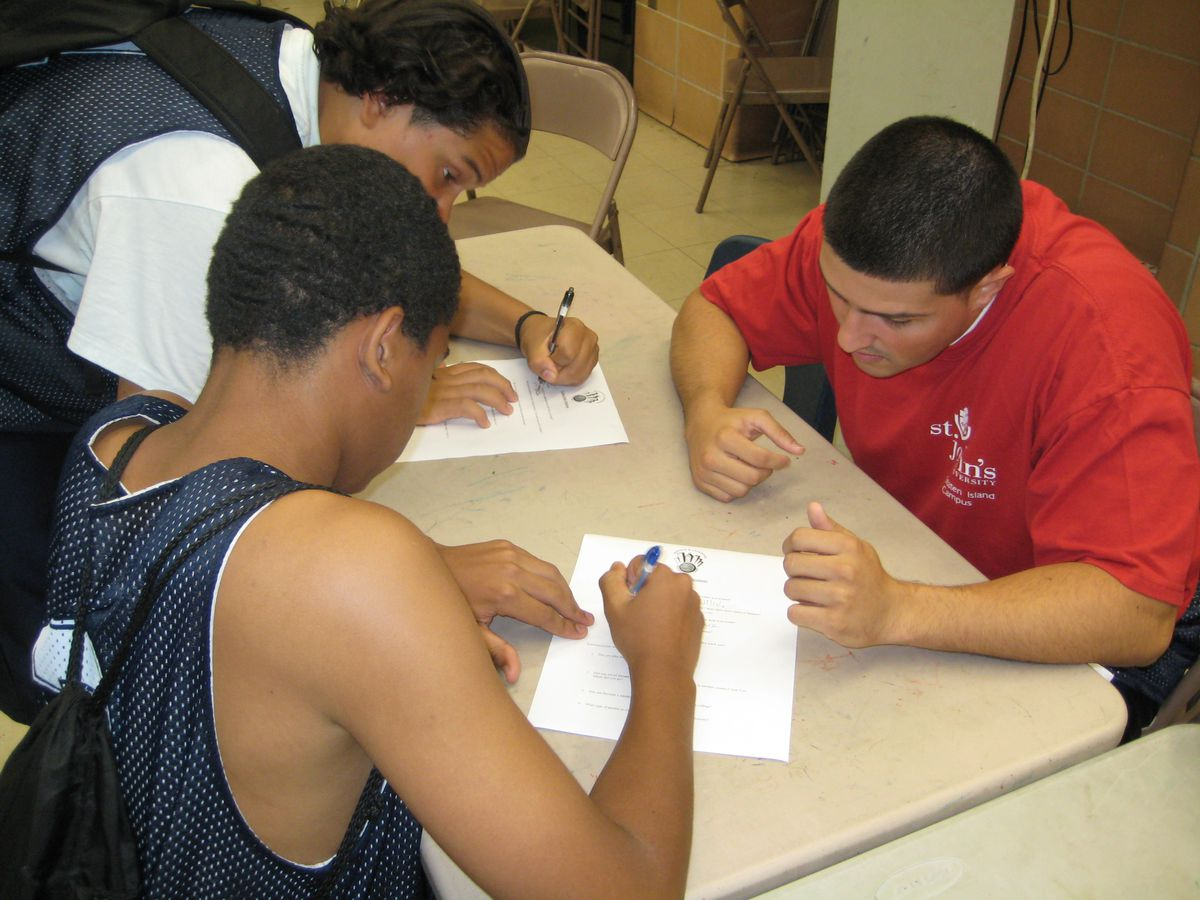 Campers ask their mentors about college. <em>Photo: Kelly Vaughan</em>