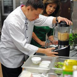 Arun's puree's ingredients for his prawn curry sauce.  | Victor Hilitski/For the Sun-Times