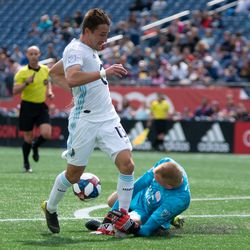 FOXBOROUGH, MA - MARCH 30: New England Revolution gaolkeeper Cody Cropper #1 makes a tough save during the first half at Gillette Stadium on March 30, 2019 in Foxborough, Massachusetts. (Photo by J. Alexander Dolan - The Bent Musket)