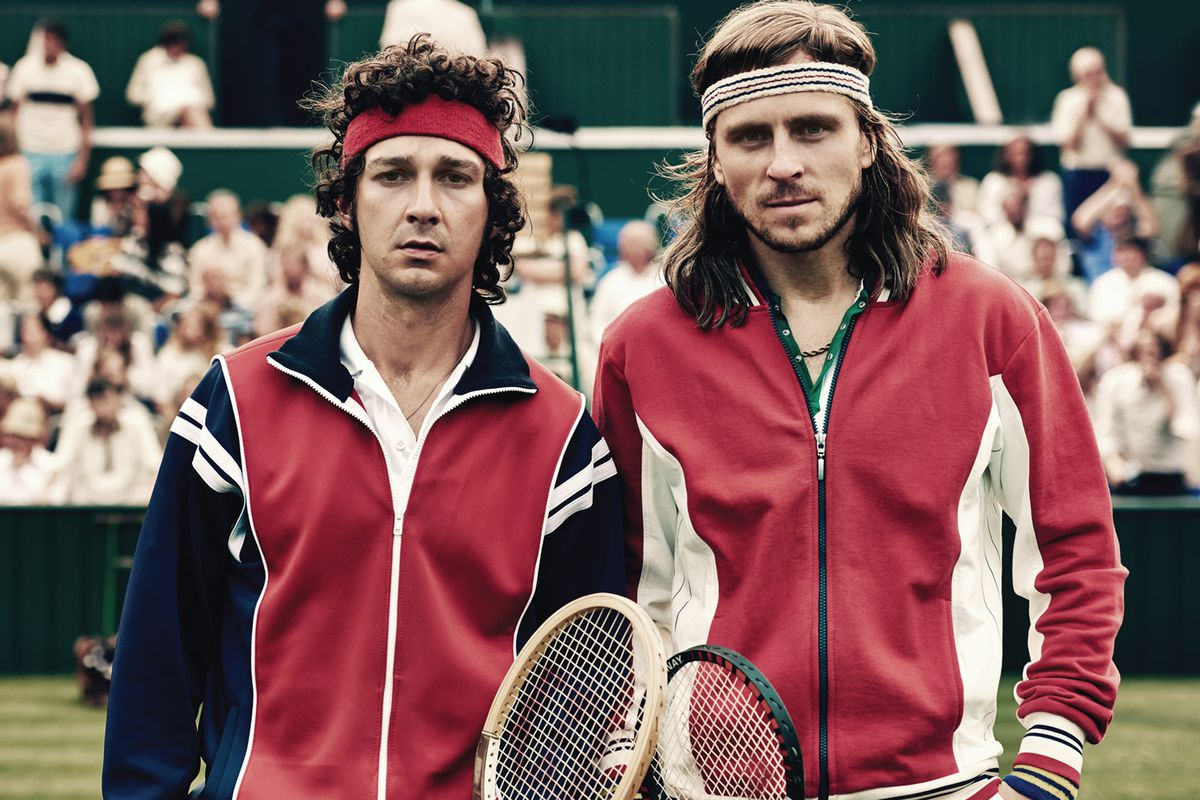 Shia LaBeouf and Sverrir Gudnason play John McEnroe and Björn Borg in Borg  vs. McEnroe. Julie Vrabelova/Neon