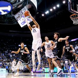 Brigham Young Cougars forward Yoeli Childs (23) snags a rebound during the game against the Gonzaga Bulldogs at the Marriott Center in Provo on Saturday, Feb. 22, 2020.