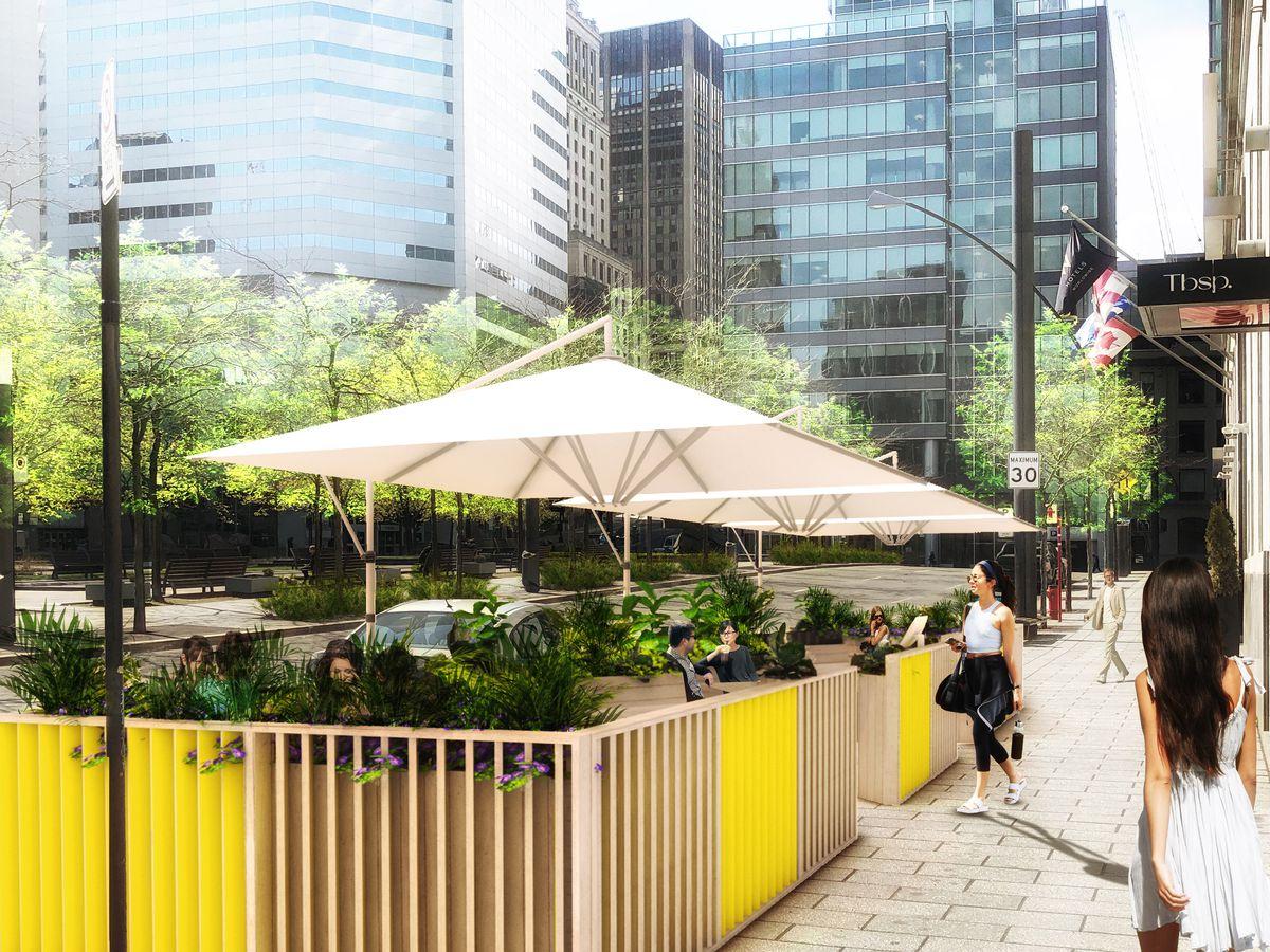 terrasse yellow umbrella