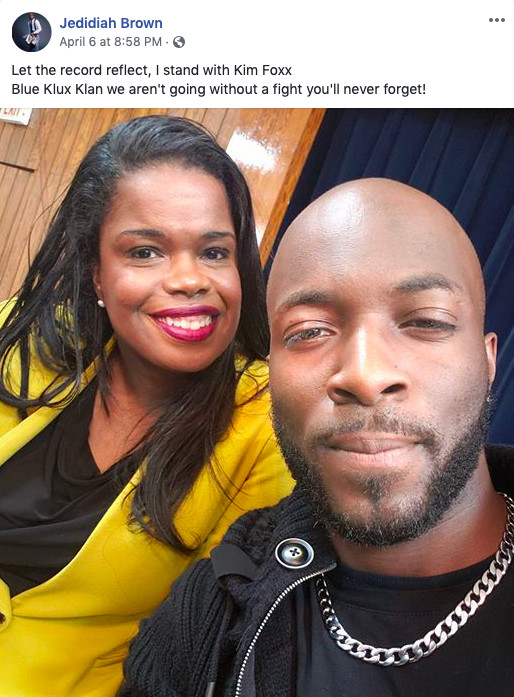An attorney for several Chicago police officer alleges a selfie that Jedidiah Brown posted of him with Kim Foxx shows a special prosecutor is needed in Brown's pending case.   provided