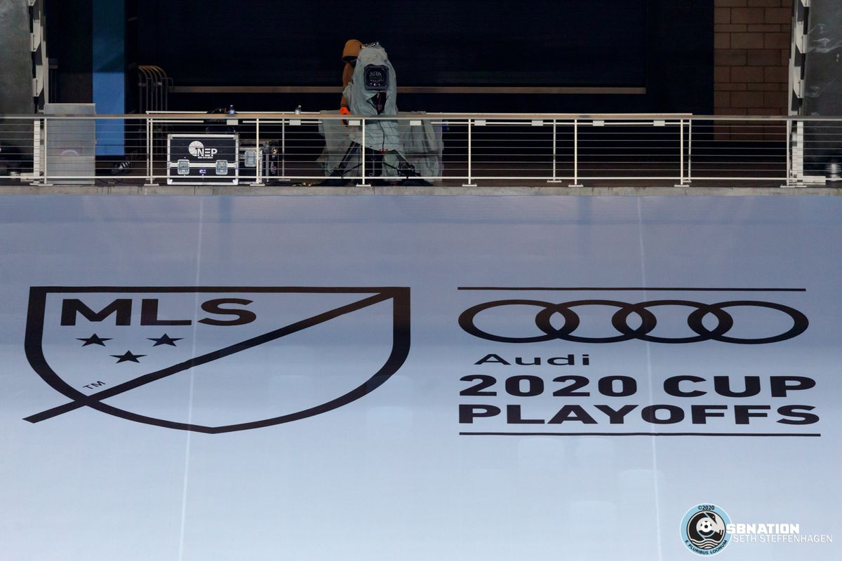 November 22, 2020 - Saint Paul, Minnesota, United States - Playoff insignia is on display during the Minnesota United vs Colorado Rapids first round playoff match at Allianz Field.