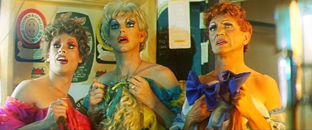 guy pearce, hugo weaving, and terence stamp in priscilla queen of the desert