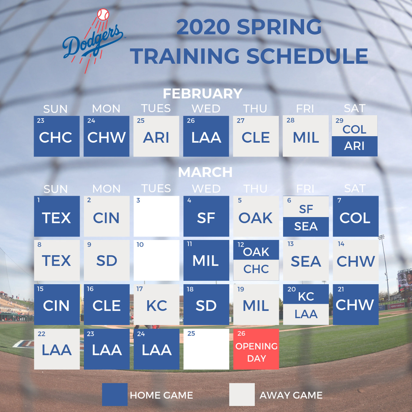 Mlb 2020 Schedule.2020 Mlb Spring Training Dodgers Release Schedule True