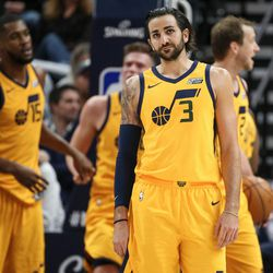 Utah Jazz guard Ricky Rubio (3) reacts after failing to score on a possession during the game against the Denver Nuggets at Vivint Smart Home Arena in Salt Lake City on Tuesday, Nov. 28, 2017.