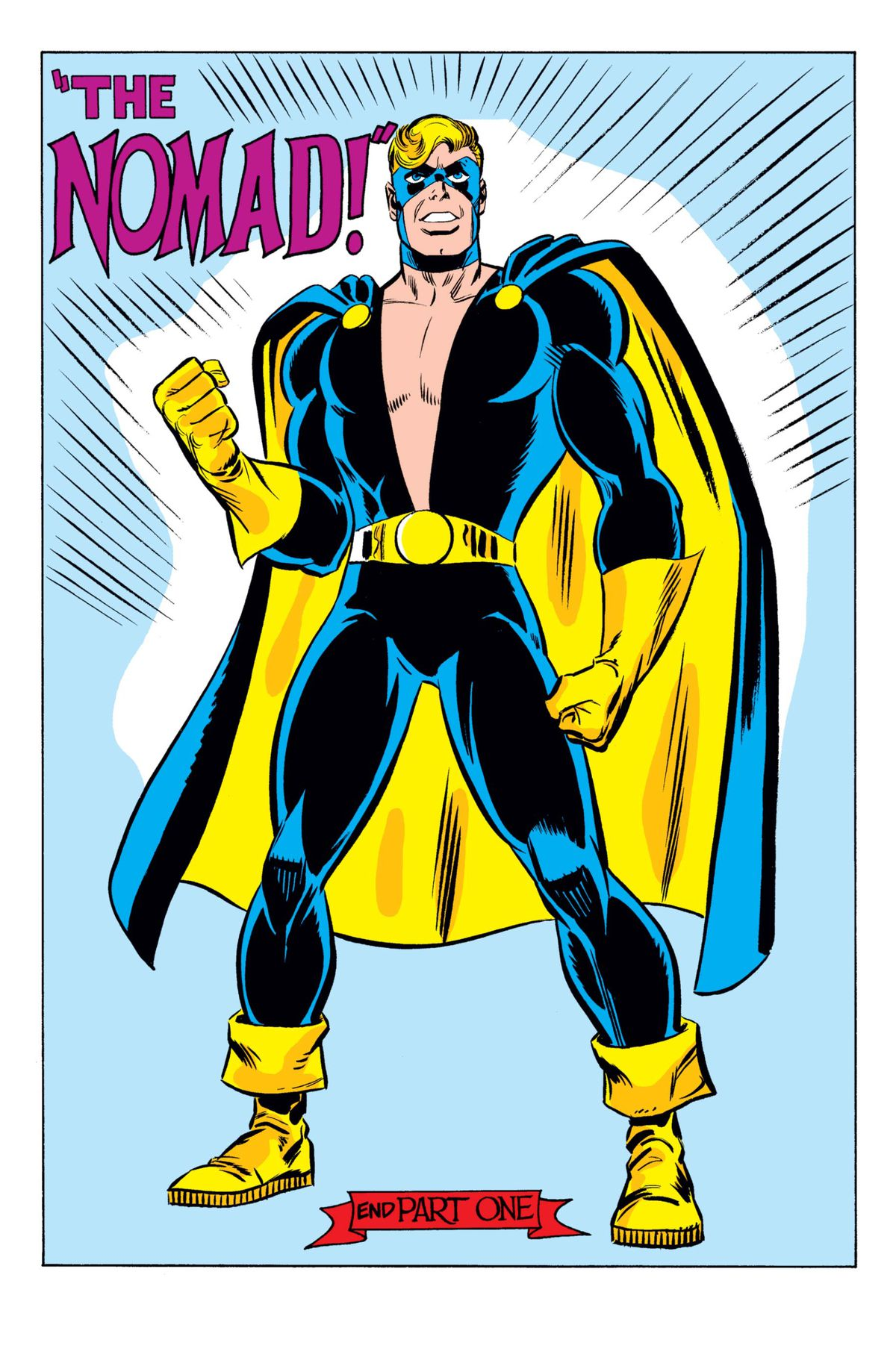 Steve Rogers in costume as Nomad, in a blue suit and mask with yellow boots, gloves, belt, and a blue cape lined with yellow. His shirt is split open from the shoulders to his belt in a deep V, from Captain America #180, Marvel Comics (2020).