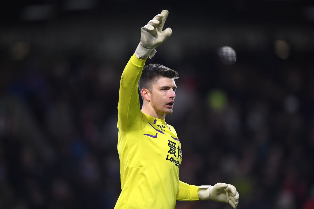 Burnley goalkeeper Nick Pope in action during the Premier League match between Burnley FC and Tottenham Hotspur at Turf Moor on March 07, 2020 in Burnley, United Kingdom.