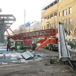 Concrete conveyor truck in front of the main bleacher entrance at Sheffield and Waveland -