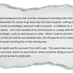Excerpt from a letter written by James Norman Sr. asking his son's attorney to talk to 4th District Judge Christine Johnson about his son's condition in Utah County Jail, carried to court on March 23, 2017.
