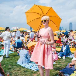Yellow umbrellas provided much-needed sun protection during the day.