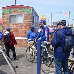 12:57 p.m. Bicycles being checked in at the bicycle valet on Clark -