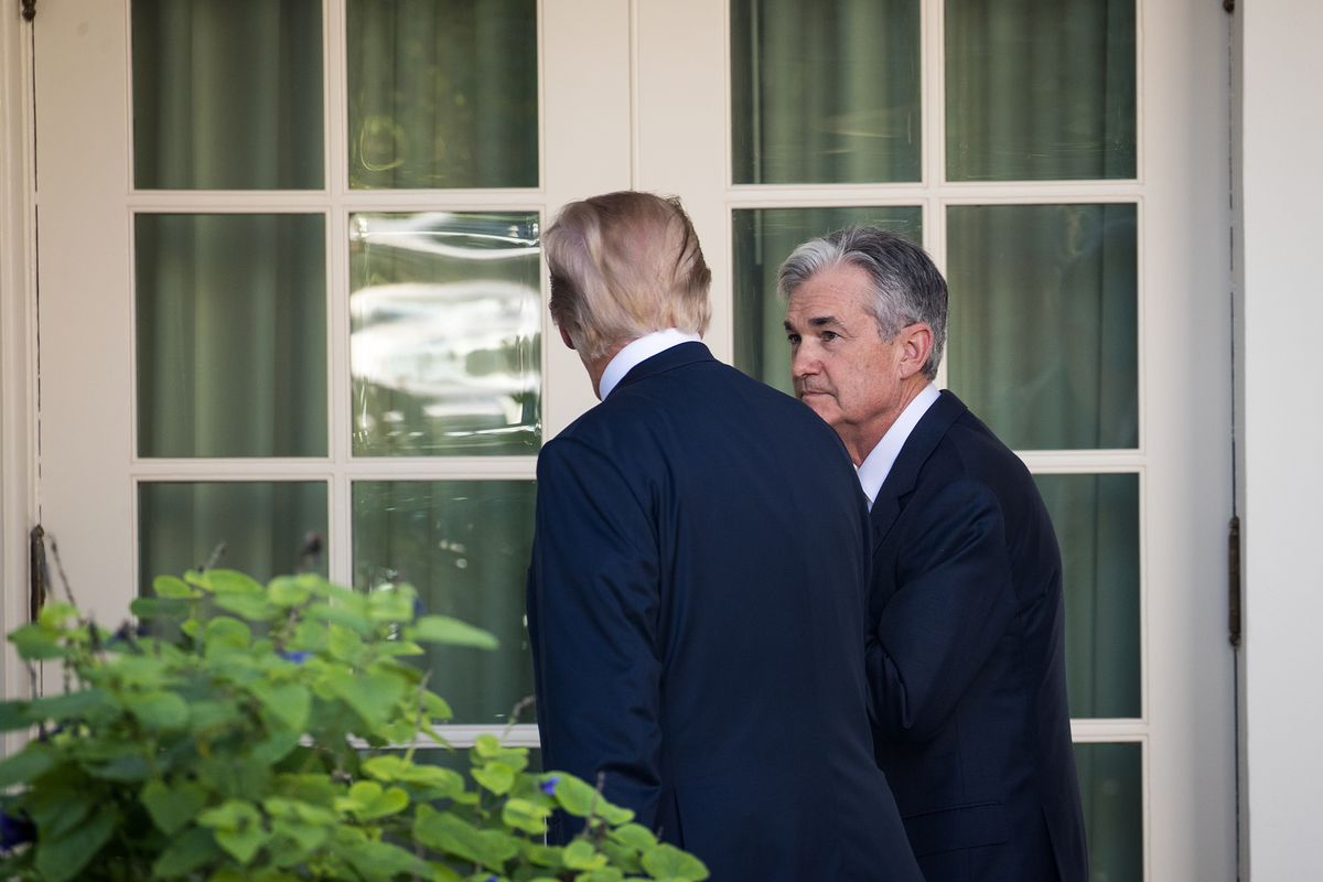 President Donald Trump speaks with Jerome Powell, then his nominee for chairman of the Federal Reserve, in November 2017.