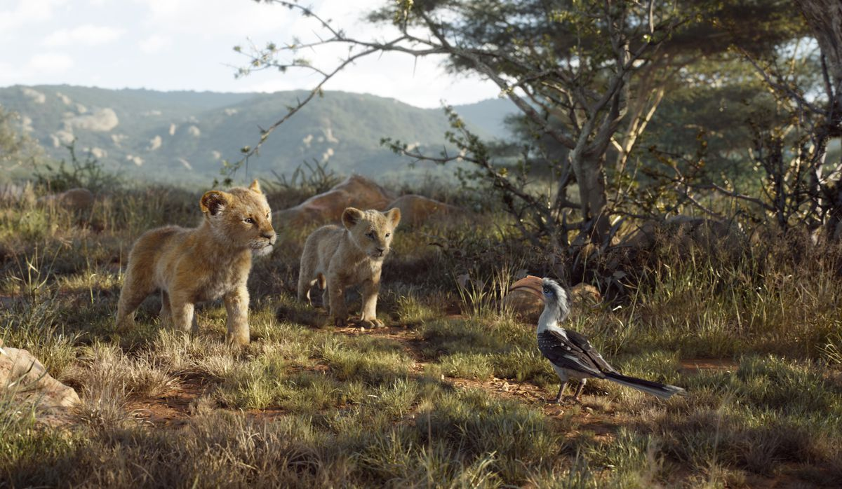"""Young Simba, voiced by JD McCrary, young Nala, voiced by Shahadi Wright Joseph, and Zazu, voiced by John Oliver, in a scene from """"The Lion King."""""""