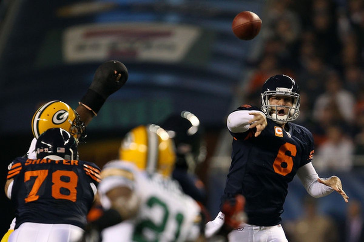CHICAGO - SEPTEMBER 27:  Jay Cutler #6 of the Chicago Bears throws a pass in the first quarter against the Green Bay Packers at Soldier Field on September 27 2010 in Chicago Illinois.  (Photo by Jonathan Daniel/Getty Images)