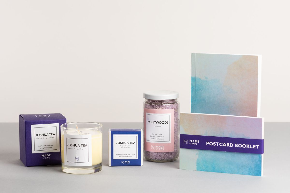 Candle, soap, bath salts, and postcards from Made by DWC