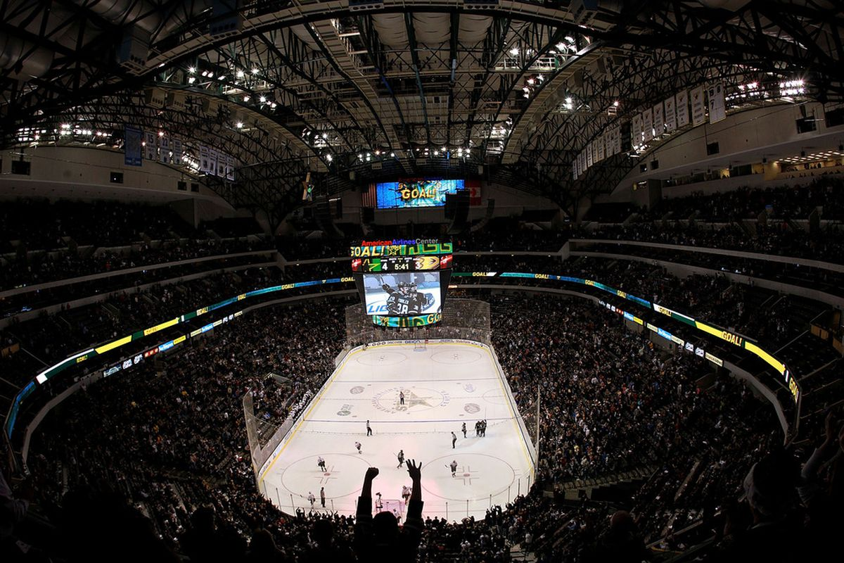 DALLAS, TX - DECEMBER 19:  Fans celebrate a goal by the Dallas Stars during play against the Anaheim Ducks at American Airlines Center on December 19, 2011 in Dallas, Texas.  (Photo by Ronald Martinez/Getty Images)