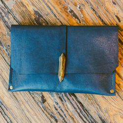 Samantha Grisdale 'Deco' clutch in indigo leather, $275