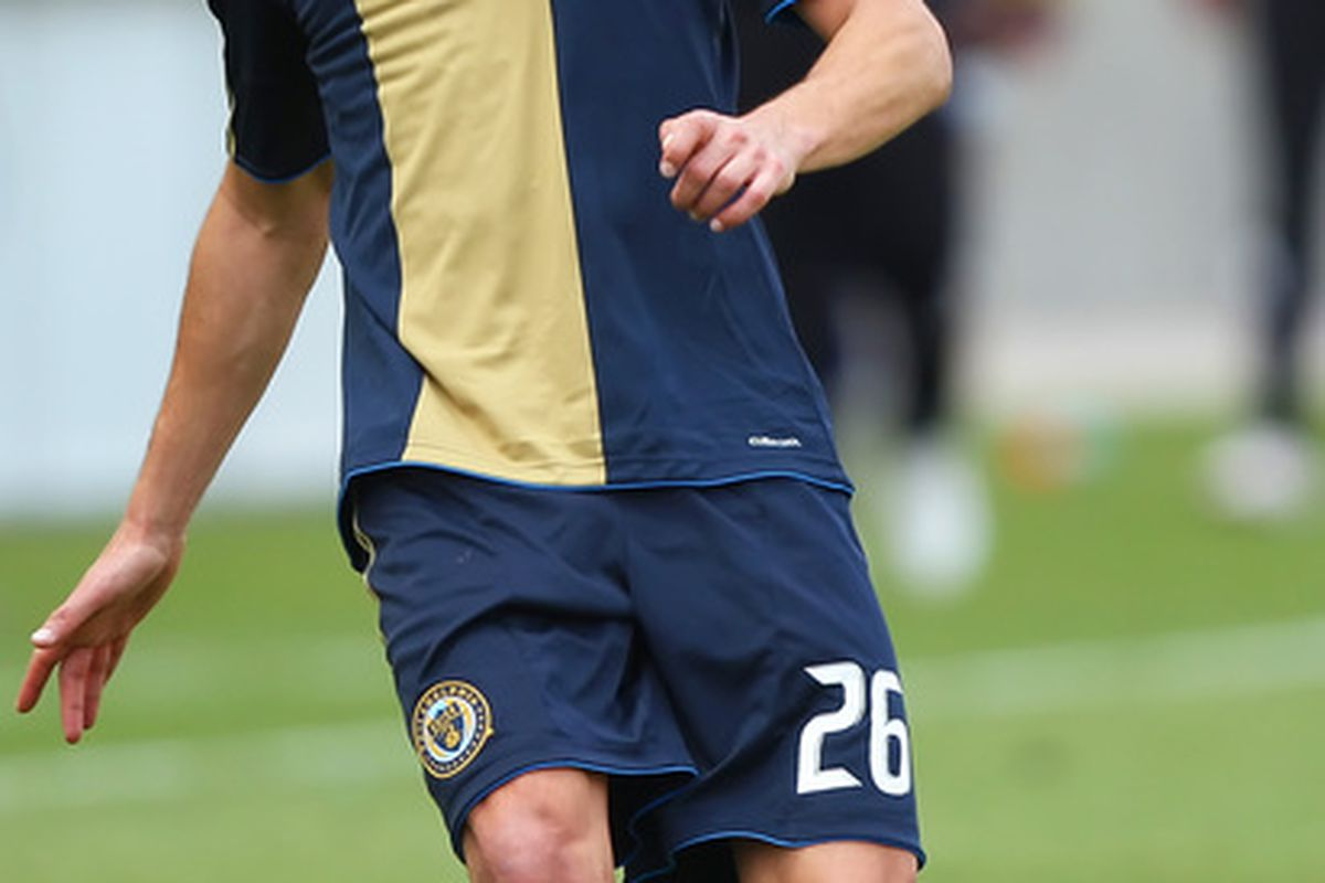 SANDY, UT-MAY 8: Cristian Arrieta #26 of Philadelphia Union passes the ball during a game against Real Salt lake during the second half of an MLS soccer game in Rio Tinto Stadium May 8, 2010 in Sandy, Utah. (Photo by George Frey/Getty Images)