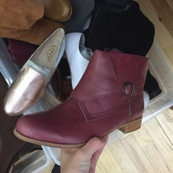Maroon leather boot, $50