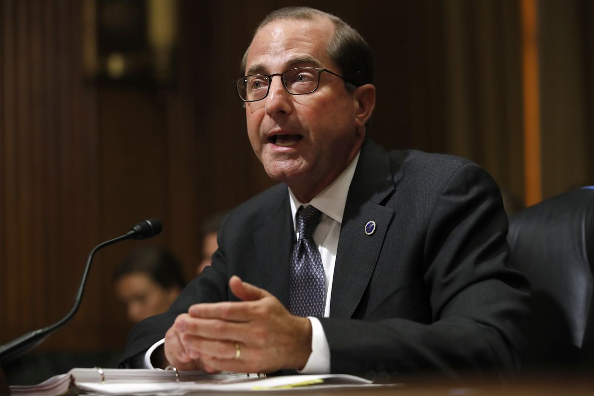 FILE - In this June 26, 2018 file photo, Health and Human Services Secretary Alex Azar speaks during a Senate Finance Committee hearing on Capitol Hill in Washington. Azar says the number of drug overdose deaths has begun to level off after years of relen