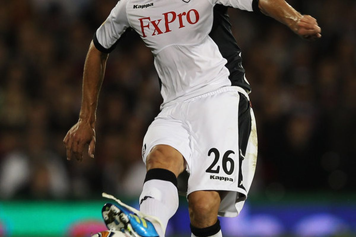 LONDON, ENGLAND - SEPTEMBER 15:  Zdenek Grygera of Fulham in action during the UEFA Europa League Group K match between Fulham and FC Twente at Craven Cottage on September 15, 2011 in London, England.  (Photo by Clive Rose/Getty Images)