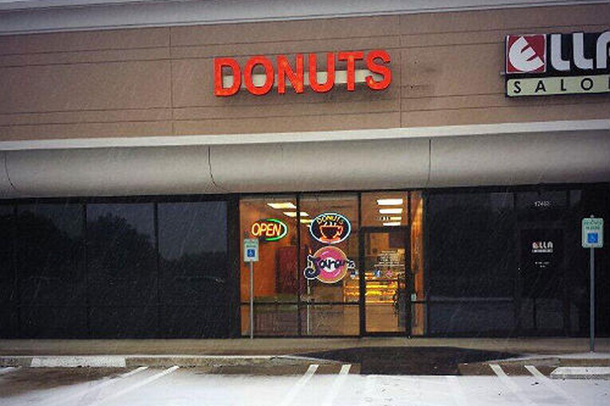 Donut shops bravely forge on despite the snow.