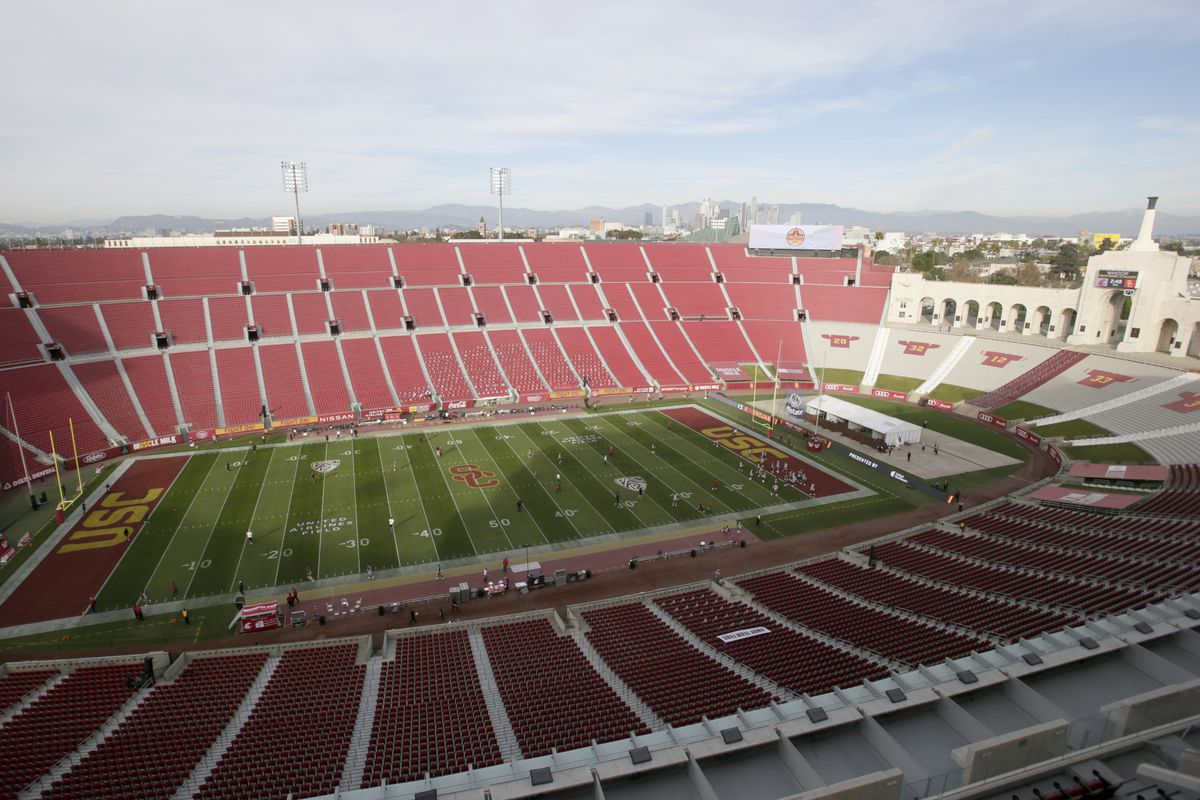 A view of the Los Angeles Coliseum, with the field and seats