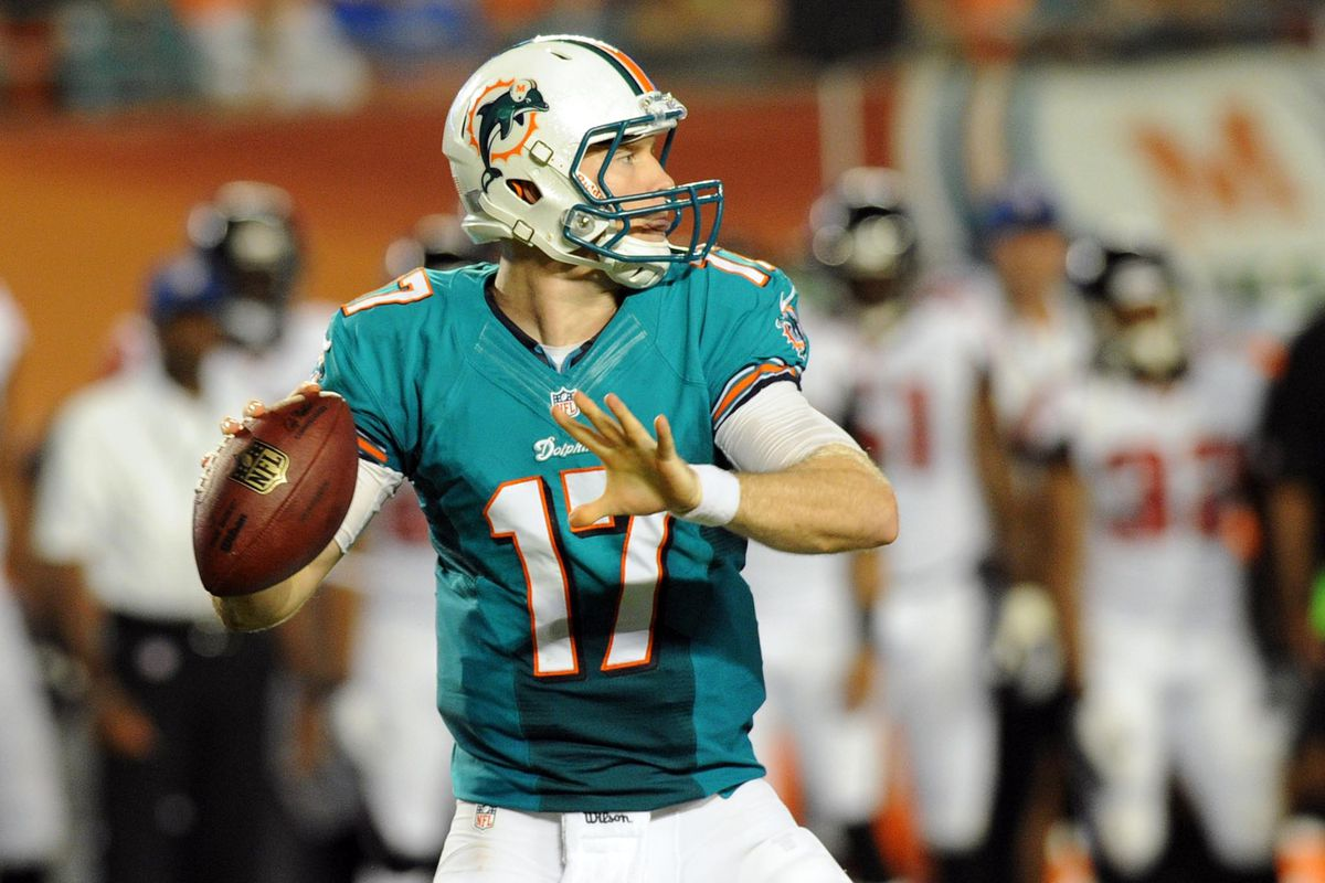 Aug. 24, 2012; Miami, FL, USA; Miami Dolphins quarterback Ryan Tannehill (17) throws a pass during the second quarter against the Atlanta Falcons last night. Too bad he had no one on the other end to catch it.