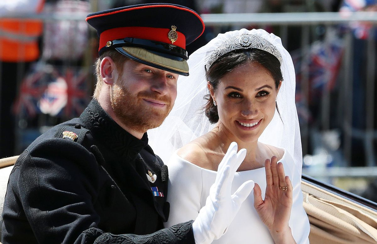Prince Harry and Meghan Markle at their May 19, 2018, wedding.