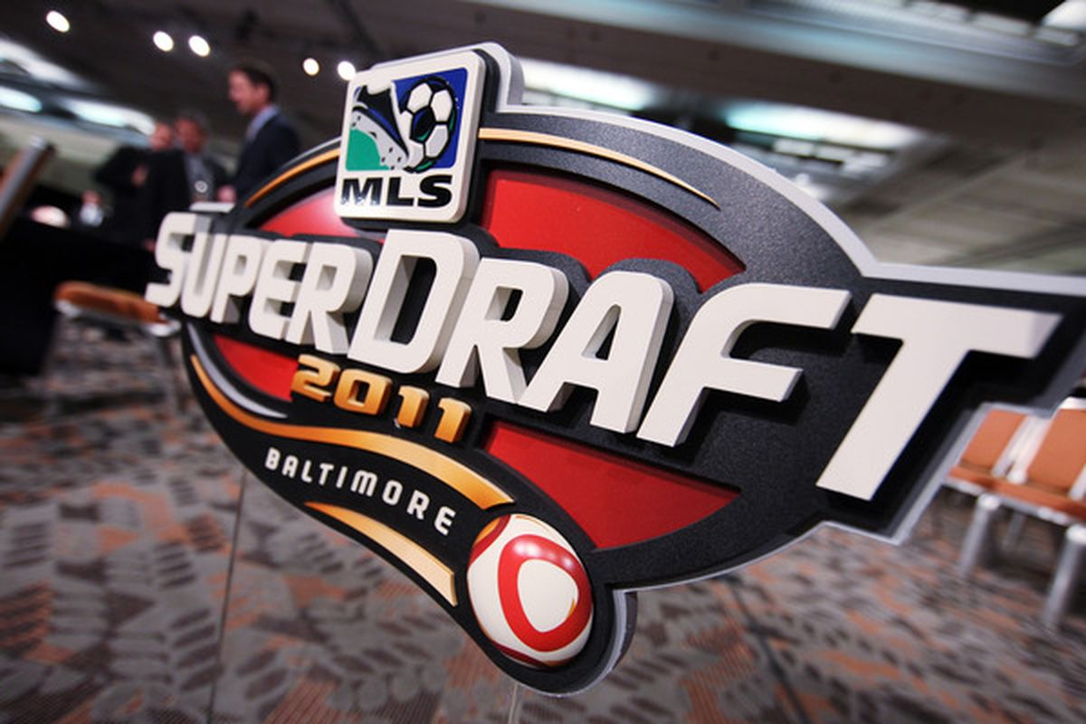 BALTIMORE - JANUARY 13: A view of the 2011 MLS SuperDraft logo during the 2011 MLS SuperDraft on January 13 2011 at the Baltimore Convention Center in Baltimore Maryland. (Photo by Ned Dishman/Getty Images)