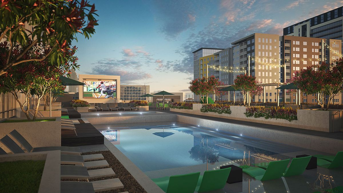 A rendering shows the 10th floor pool deck, with a jumbotron in front of skyline views.