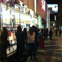 Shoppers lining up early.