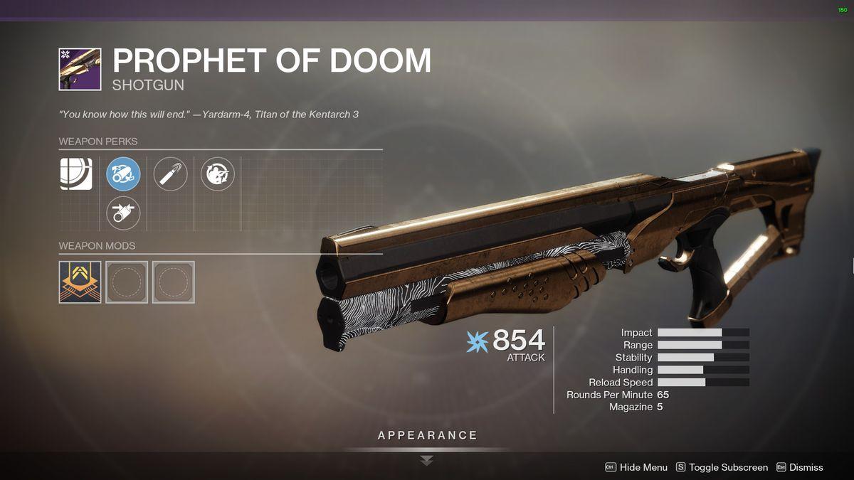 Destiny 2's Prophet of Doom Shotgun